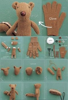 Create a Chipmunk softie using a hand glove