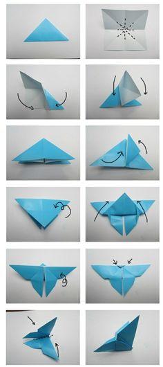 Origami Falten-Anleitung Schmetterling