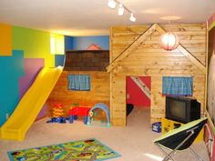 45 Small-Space Kids' Playroom Design Ideas – Best for Kids Indoor Playroom, Indoor Playhouse, Wooden Playhouse, Playhouse Slide, Playhouse Plans, Playroom Design, Playroom Decor, Kid Playroom, Children Playroom