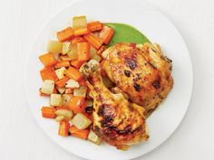 Get Sheet-Pan Curried Chicken and Root Vegetables Recipe from Food Network Root Vegetables, Chicken And Vegetables, Vegetable Recipes, Chicken Recipes, Melon Recipes, Entree Recipes, The Fresh, Sheet Pan, Food Network Recipes