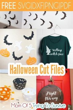 Decorate your house with these Halloween cut files. They are great at vinyl stickers or cut out of cardstock and taped to your wall. Halloween Fonts, Halloween Window, Halloween Home Decor, Halloween Projects, Cute Halloween, Halloween Costumes For Kids, Halloween Themes, Halloween Decorations, Diy Projects