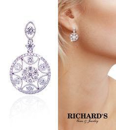 Circle Diamond Dangling Drop Earrings in 18K White Gold
