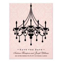 Chandelier Wedding Invitations Save the Date | Chandelier Damask Card