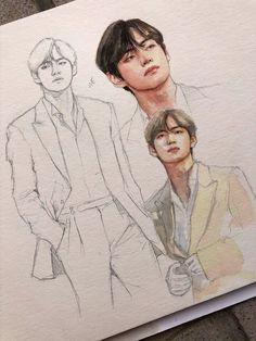 Taehyung V Wow. Taehyung V Kpop Drawings, Pencil Art Drawings, Art Drawings Sketches, Fanart Bts, Taehyung Fanart, Kim Taehyung, Kunst Inspo, Art Inspo, Arte Sketchbook