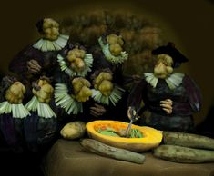 """Rembrandt Van Rijn's """"The Anatomy of Dr. Nicholaes Tulp"""" with vegetables, by Ju Duoqi"""