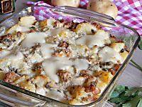 pasticcio con patate funghi e salsiccia al forno