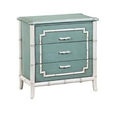 Pemberly Row 3 Drawer Faux Bamboo Trim Accent Chest in Blue 3 Drawer Chest, Chest Of Drawers, Storage Chest, Accent Chest, Sofa End Tables, Faux Bamboo, Large Drawers, Hidden Storage, White Wood
