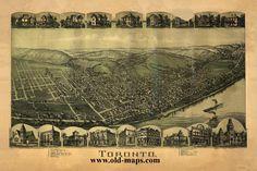 24x36 Vintage Historic Map Cambridge Ohio 1899 Guernsey County