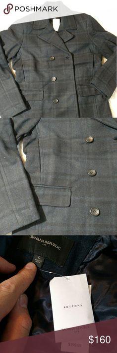 Banana Republic men's plaid jacket L NWT men's green plaid jacket.  Professional looking, easy going jacket for all winter occasions. Banana Republic Jackets & Coats Pea Coats