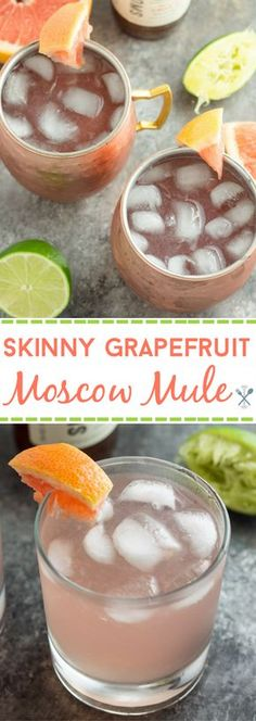 Skinny Grapefruit Moscow Mule Physical Kitchness - This Skinny Grapefruit Moscow Mule Recipe Is Speaking Directly To All The Moms Of The World The Refreshing Lightened Up Version Of The Classic Original Has Less Calories Less Sugar But The Same Le Summer Cocktails, Cocktail Drinks, Cocktail Recipes, Fun Summer Drinks Alcohol, Cocktail Ideas, Recipe Smoothie, Lillet Berry, Moscow Mule Drink, Moscow
