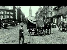 Trolley ride down Market Street, San Francisco 1906 just a week before the great earthquake and fire that destroyed everything in this film except the Ferry Terminal at the end.
