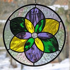 Stained Glass Mardi Gras Mandala Star Suncatcher by LivingGlassArt, $40.00