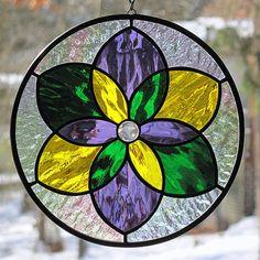 Stained Glass Mardi Gras Mandala Star Suncatcher by LivingGlassArt, $40.00