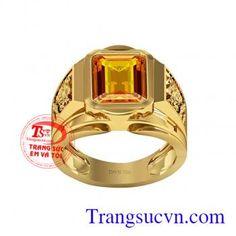 Nhẫn sapphire vàng chữ nhật