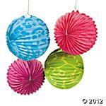 neon animal print paper lanterns