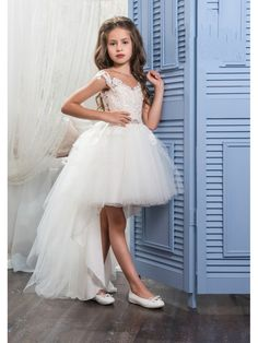 High Low Illusion Neckline Lace Tulle Princess Ball Gown Flower Girl Dresses 5501035