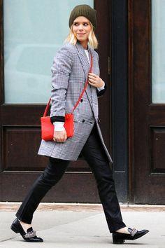 Kate Mara rocks a gorgeous plaid coat. See more style secrets here!
