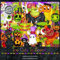 Soxsational Scraps: Too Cute To Spook .. Tagger Kit FREEBIE* Digital Scrapbooking, Wreaths, Kit, Halloween, Decor, Decoration, Door Wreaths, Deco Mesh Wreaths, Decorating