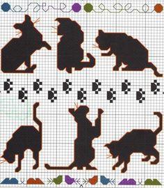 Beaded Cross Stitch, Crochet Cross, Cross Stitch Charts, Cross Stitch Patterns, Diy Embroidery, Cross Stitch Embroidery, Blackwork, Cat Signs, Cat Crafts