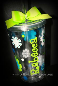 Personalized Acrylic Tumbler by PolkaDotGiftShoppe on Etsy, $14.99