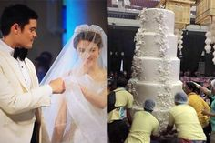 "A photo of a human-sized wedding cake being transported by several men has gone viral online, amid the media frenzy surrounding the ""royal wedding"" of TV superstars Marian Rivera and Dingdong Dantes. Marian Rivera Wedding, Superstar, Wedding Cakes, Entertaining, Weddings, Future, Stars, Tv, Wedding Dresses"