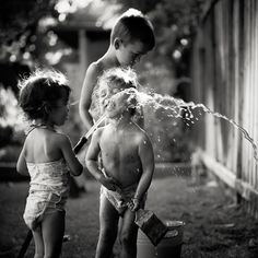 Run through the sprinkler when it was hot....drink out of the hose........leah zawadzki.