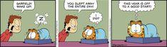 Today on Garfield en Español - Comics by Jim Davis Garfield Comics, Brave Little Toaster, Doom 1, Hagar The Horrible, Jim Davis, Cats Bus, The Big Lebowski, Frank Zappa, Family Game Night