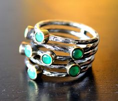 Sterling Silver Ring with Green Emerald Jade Stones (US Size-8)