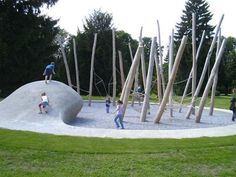 Now this is a top playground, wood,rope and imagination.  Playground from the designers at ZumKuKuk