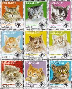 LOL CATS #timbres Paraguay 3218-3226 (complète.Edition.) oblitéré 1979 Chats (Timbres pour les collectionneurs)