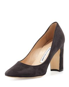 Tuccio+Suede+90mm+Pump,+Black+by+Manolo+Blahnik+at+Neiman+Marcus.