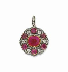 Pink sapphire, ruby, and diamond pendant, mounted in silver and gold. English c1810. Christie's.