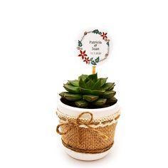 Detalle de boda con cactus o suculenta natural montado en maceta ceramica con cubremacetas de yute y decorada con cinta. Elegante detalle de boda, comunión o fiesta para regalar a tus invitados y para conservar un hermoso recuerdo de este gran día. Cactus Y Suculentas, Planter Pots, Place Cards, Place Card Holders, Natural, Ideas, Frases, Guest Gifts, Wedding Day Gifts