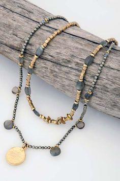 Karena: Pyrite, labradorite, smoky topaz, and gold vermeil coin necklace. Custom Jewelry, Jewelry Art, Beaded Jewelry, Handmade Jewelry, Jewelry Design, Coin Necklace, Beaded Necklace, Bohemian Necklace, Clothes Horse