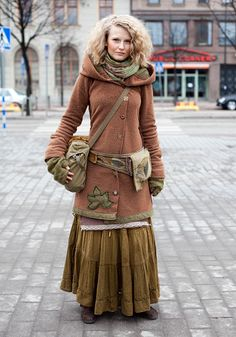 love these layers! belt with pouches, colour, applique. like the scarf, too.