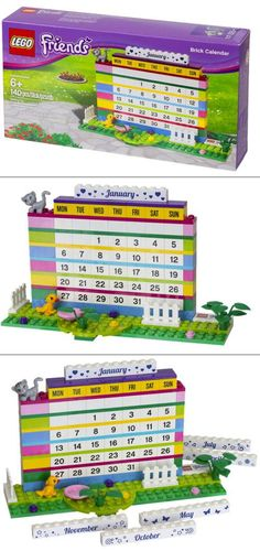 Make time to play every day with an eternal LEGO calendar. The labeled bricks can help teach days, and months, and countdown the number of 'sleeps' til the big day!