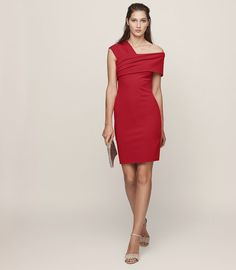 Reiss Cristiana One-Shoulder Cocktail Dress Maraschino - 4 Event Dresses, Occasion Dresses, Chiffon Dress, Lace Dress, One Shoulder Cocktail Dress, A Line Gown, Cutout Dress, Boho Dress, Trendy Outfits