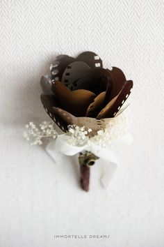 Film Rose Boutonniere by ImmortelleDreams on Etsy, $35.00