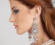 Bridal chandelier long dangle wedding crystal swarovski pearl bride earrings