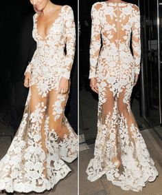 Sexy Round Collar Long Sleeve Backless See-Through Lace Women's DressMaxi Dresses | RoseGal.com