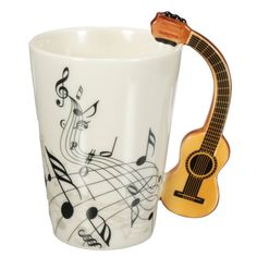 Arshen Novelty Guitar Ceramic Cups Personality Music Note Milk Juice Lemon Mug Coffee Tea Cups Home Office Drinkware Gift Tea Mugs, Coffee Mugs, Coffee Time, Guitar Gifts, Milk Cup, Ceramic Cups, Porcelain Ceramics, Music Notes, Drinkware