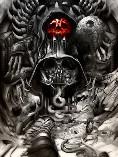 Darth Vader in the style of H.R. Giger