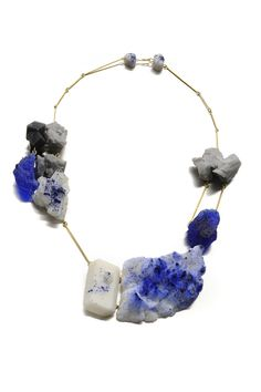"""""""Blu"""" / necklace / 18 Kt Gold and resin with natural pigments / 2012 / unique piece."""