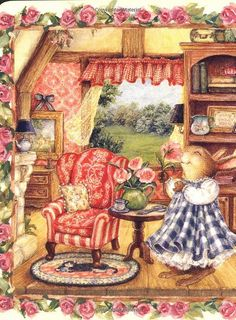 Vintage Illustration This illustration by Susan Wheeler is so warm and homey, it's an inspiration. by jeri Susan Wheeler, Art And Illustration, Rabbit Illustration, Book Illustrations, Images Vintage, Vintage Art, Lapin Art, Motifs Animal, Dibujos Cute