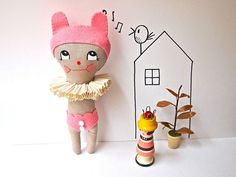 New small dolls, a little pink circus bunny
