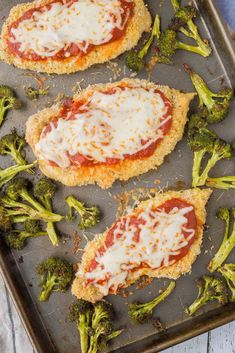 Dinner on one pan - this sheet pan baked chicken parmesan is not only healthier than the original, it's also easier! It's going to become a dinnertime fave. Get the easy dinner recipe on RachelCooks.com!