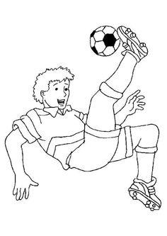 Dessin à colorier d'un garçon faisant un retourné acrobatique avec un ballon de foot