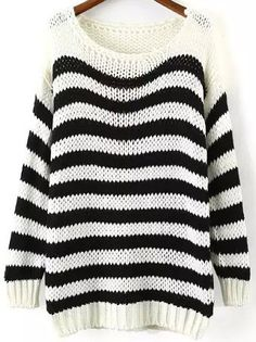 Black White Round Neck Striped Loose Sweater
