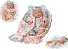 Gabby Rose Baby Doll With Quilt And Basket by Ashton Drake