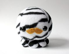 Zebra Octopus Plush Toy with Mustache by cheekandstitch on Etsy, $14.00 - I want dis. o___o